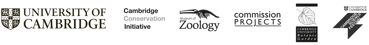 University of Cambridge, Cambridge Conservation Initiative, Museum of Zoology, Commission Projects, Cambridge University Botanic Garden, Cambridge Science Festival logos